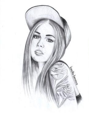 Рисунки девушек для срисовки карандашом (12 фото)